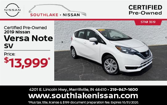 2019 Versa Note Certified Pre-Owned Special| Southlake Nissan