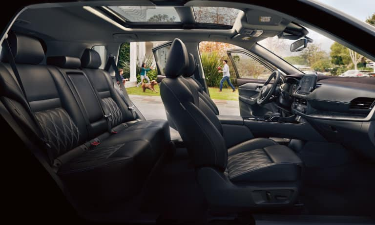 2021 Nissan Rogue side view of interior