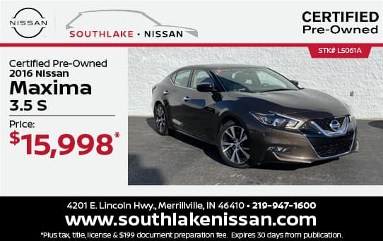 2016 Nissan Maxima Certified Pre-Owned Special  Southlake Nissan