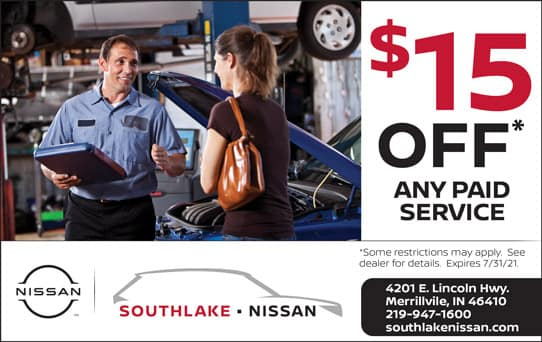 $15 Off Any Paid Service   Southlake Nissan