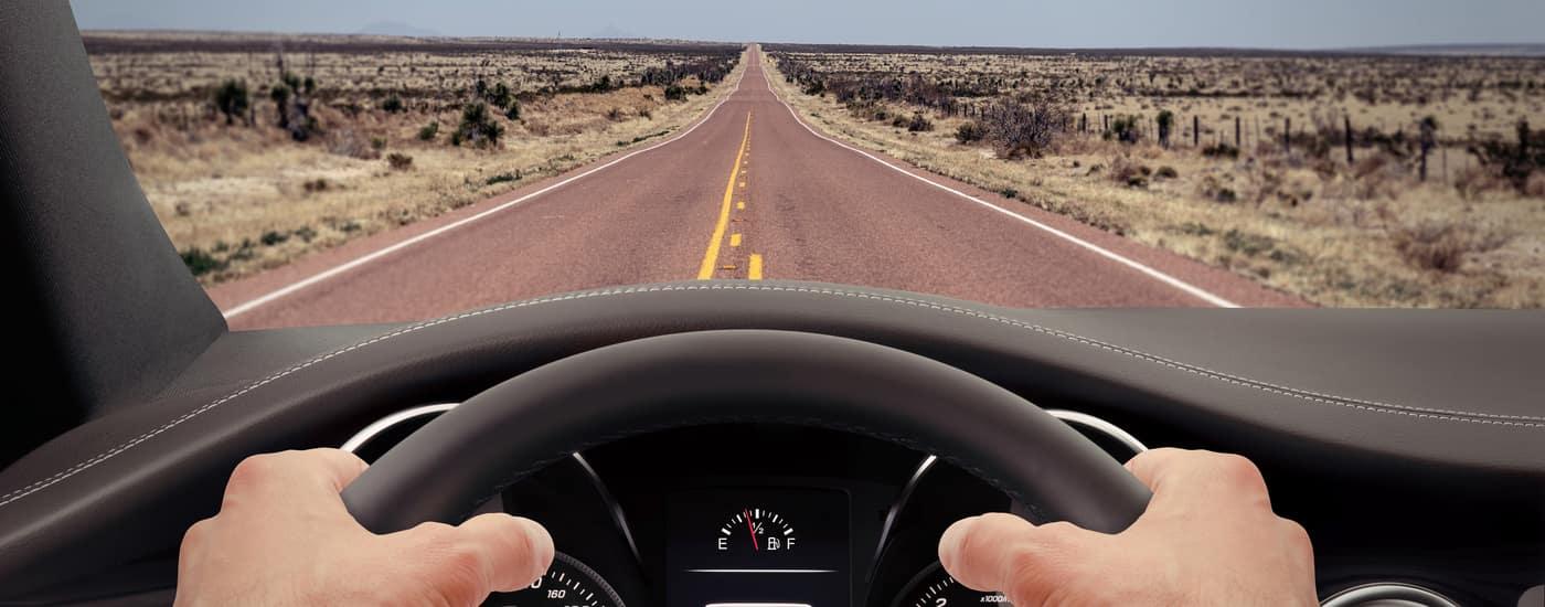 behind the wheel POV