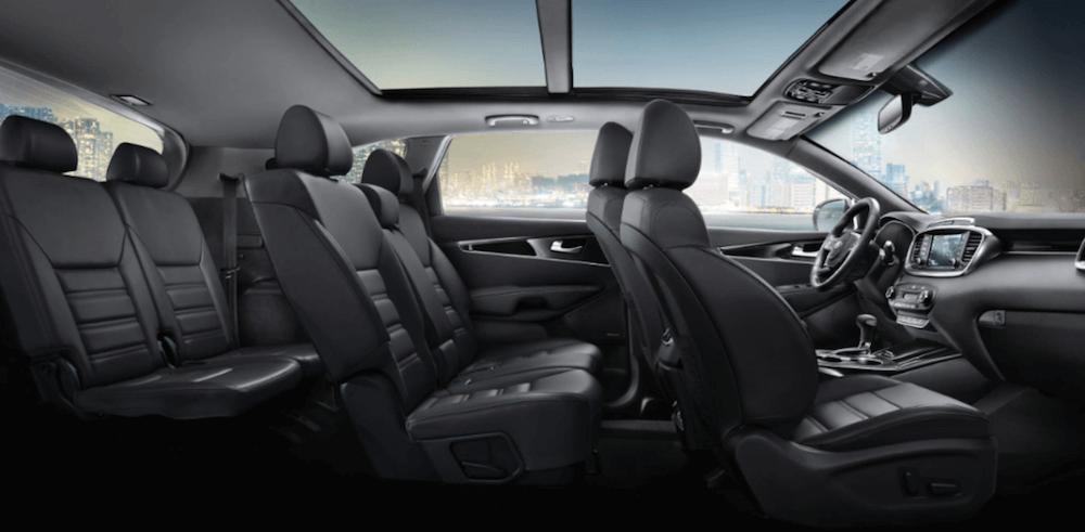 2020 Kia Sorento interior cutaway showing 3 row seating dimensions