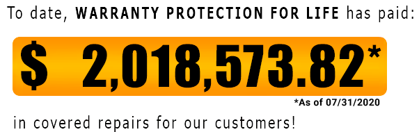 Warranty Protection For Life has paid out $2,018,573.82 as of July-31-2020