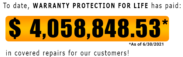 Warranty Protection for Life has covered $4,058,848.53 in repairs as of June 30, 2021