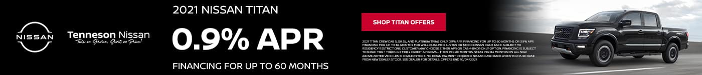 0.9% APR Financing FOR UP TO 60 Months, 2021 Nissan Titan