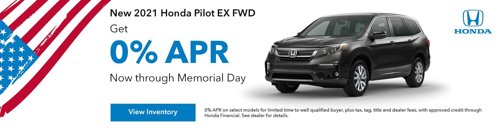new 2021 Honda Pilot 0% APR, Get 0% APR For 60 Months