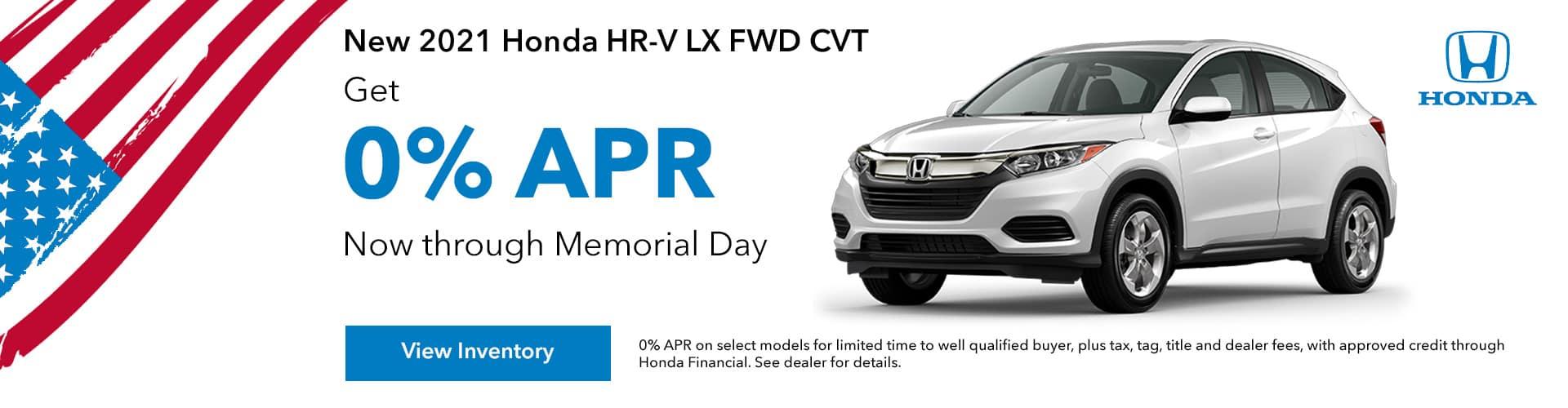 new 2021 Honda HR-V 0% APR, Get 0% APR For up to 72 Months