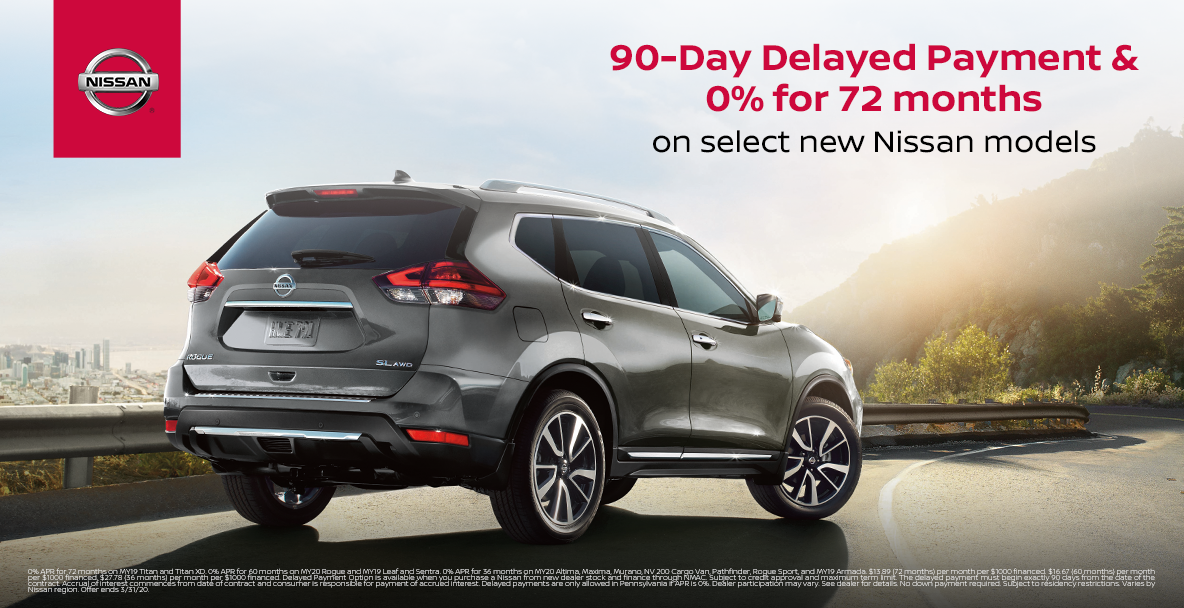 90 day deferred payments plus 0% for 72 months on purchase of a New Nissan