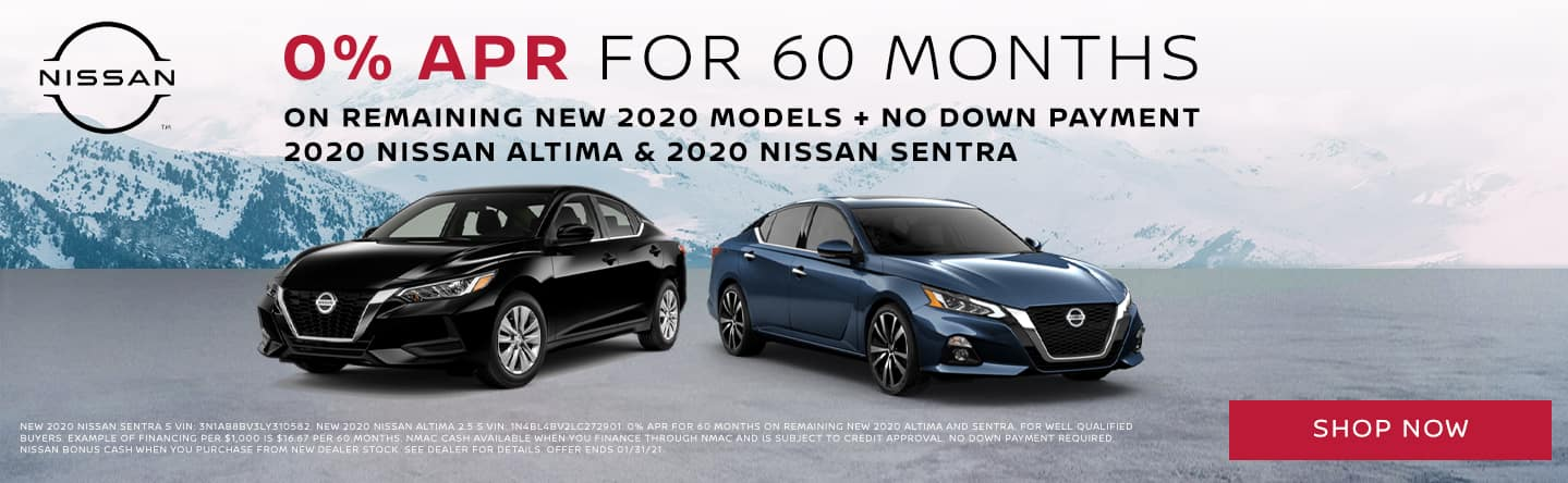 0% APR on 2020 Nissan Altimas & 2020 Nissan Sentras