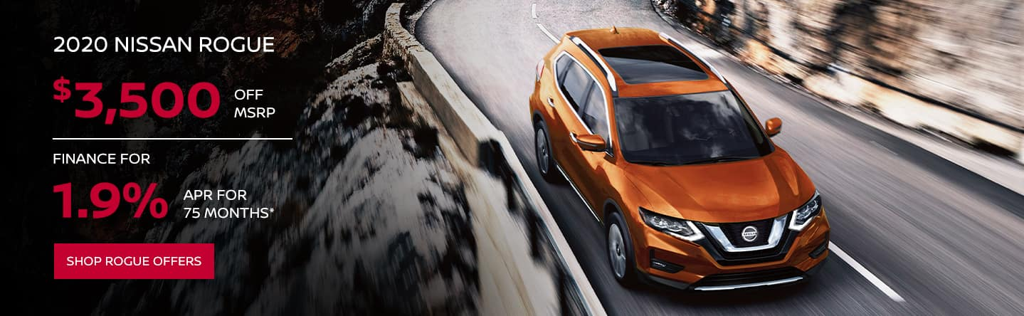 $3500 off MSRP on 2020 Nissan Rogue, Finance for 1.9% APR for 75 months*