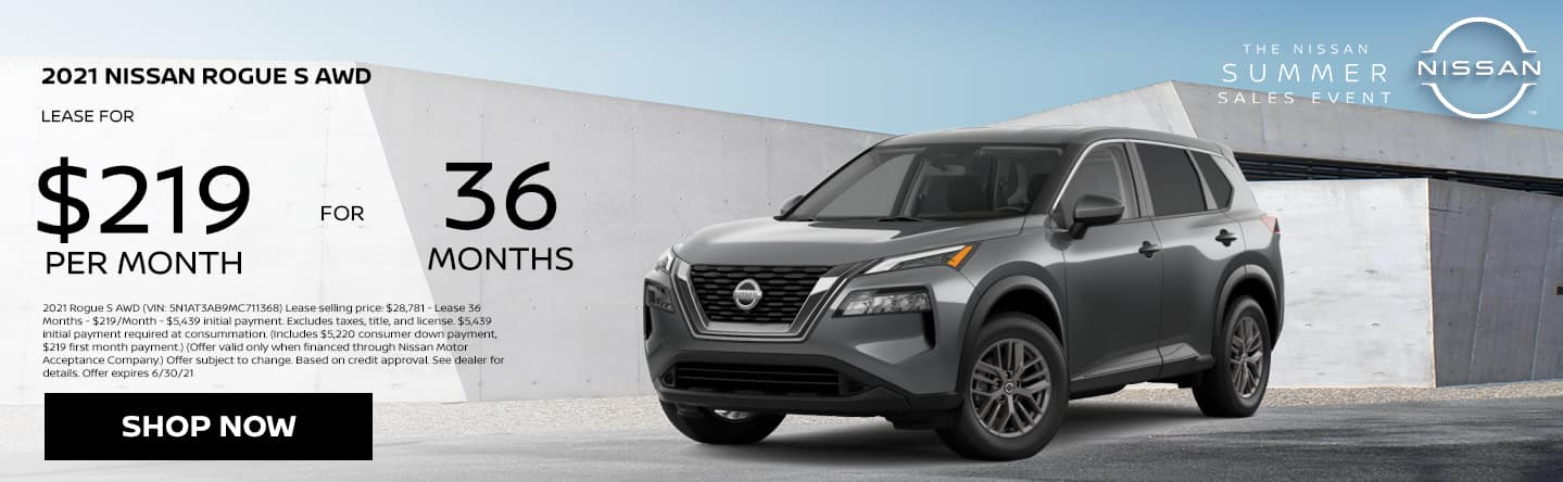 2021 Nissan Rogue S AWD, Lease $219 per month for 36 months