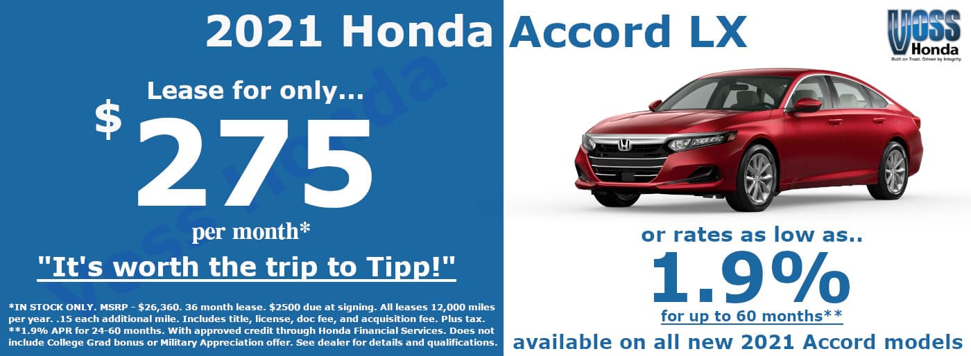 2021 Honda Accord LX Lease Special