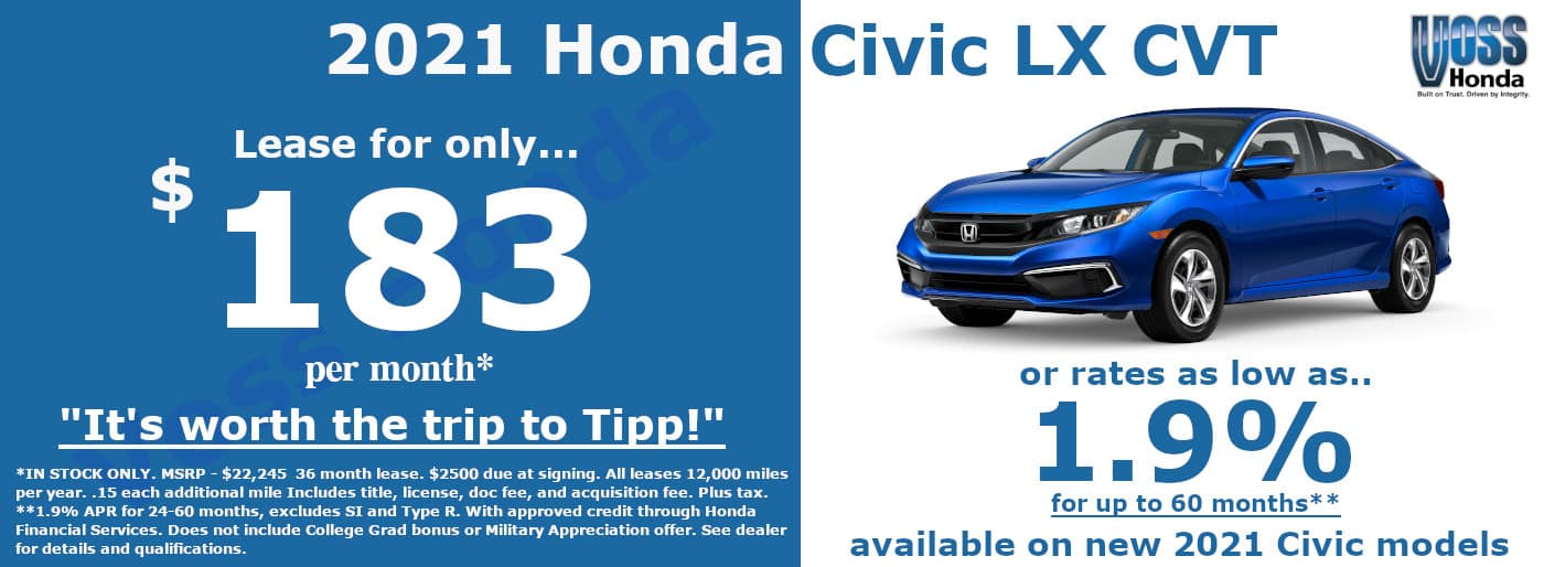 2021 Honda Civic LX Lease Special