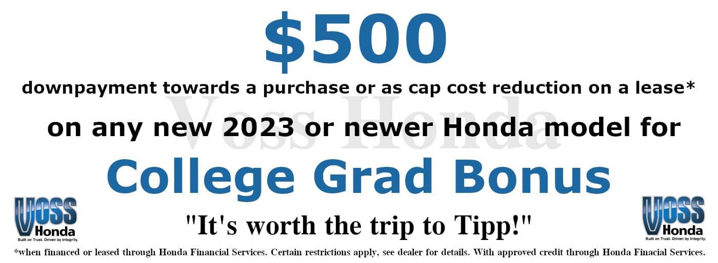$500 College Grad Bonus