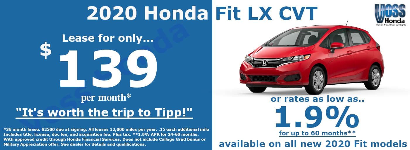 2020 Honda Fit LX Lease Special