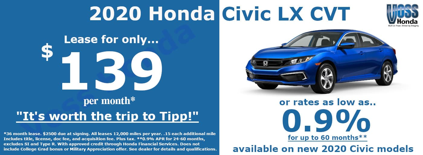 2020 Civic LX Lease Special