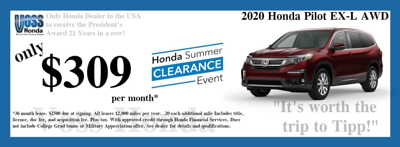 2020 Honda Pilot EX-L AWD Lease Special