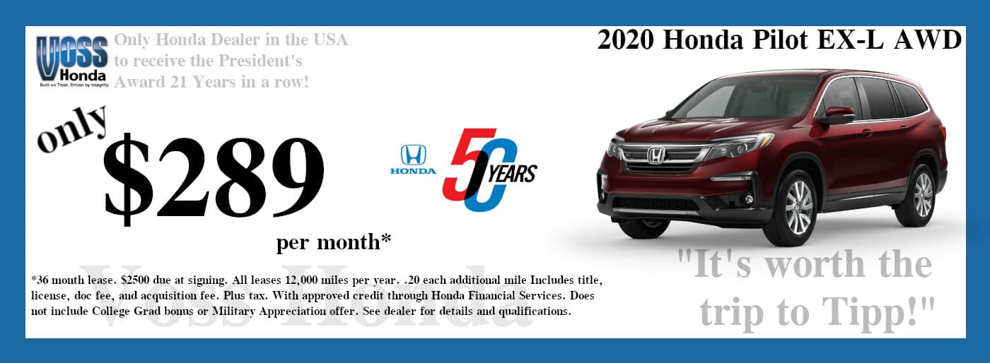 2020 Pilot EX-L AWD Lease Special