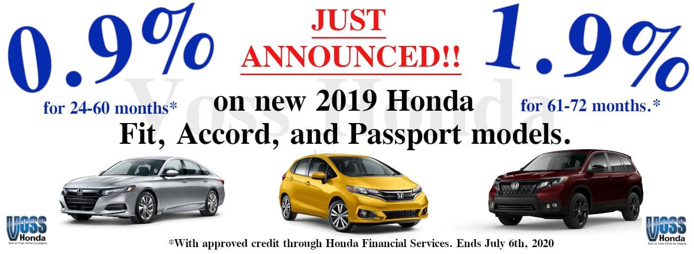 2019 Honda models Special APR