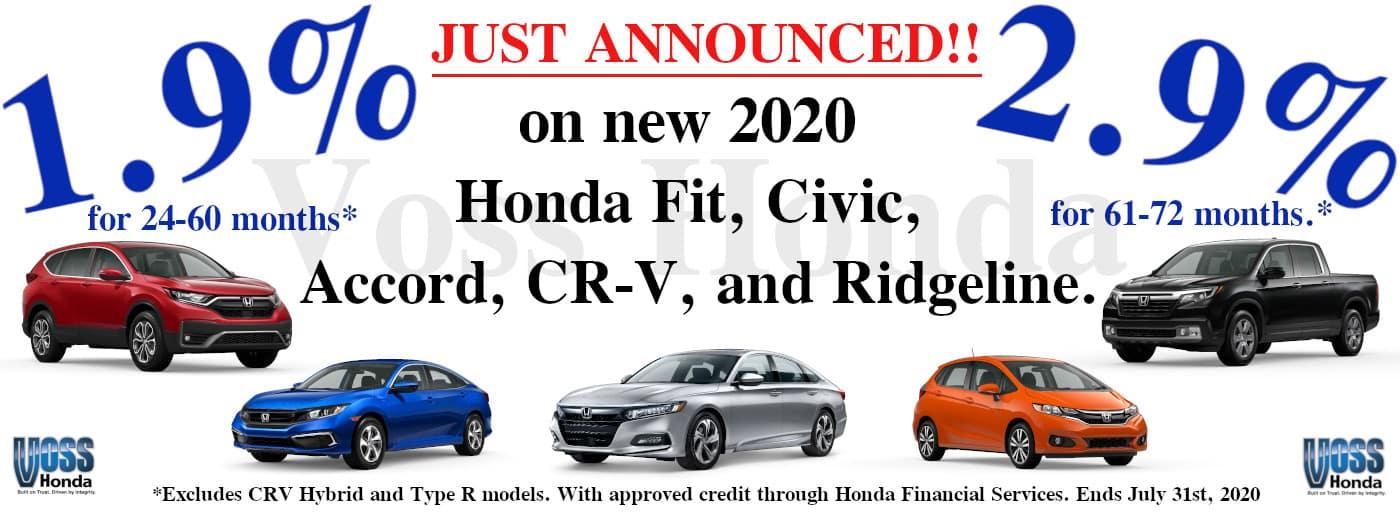 2020 Honda Special APR program