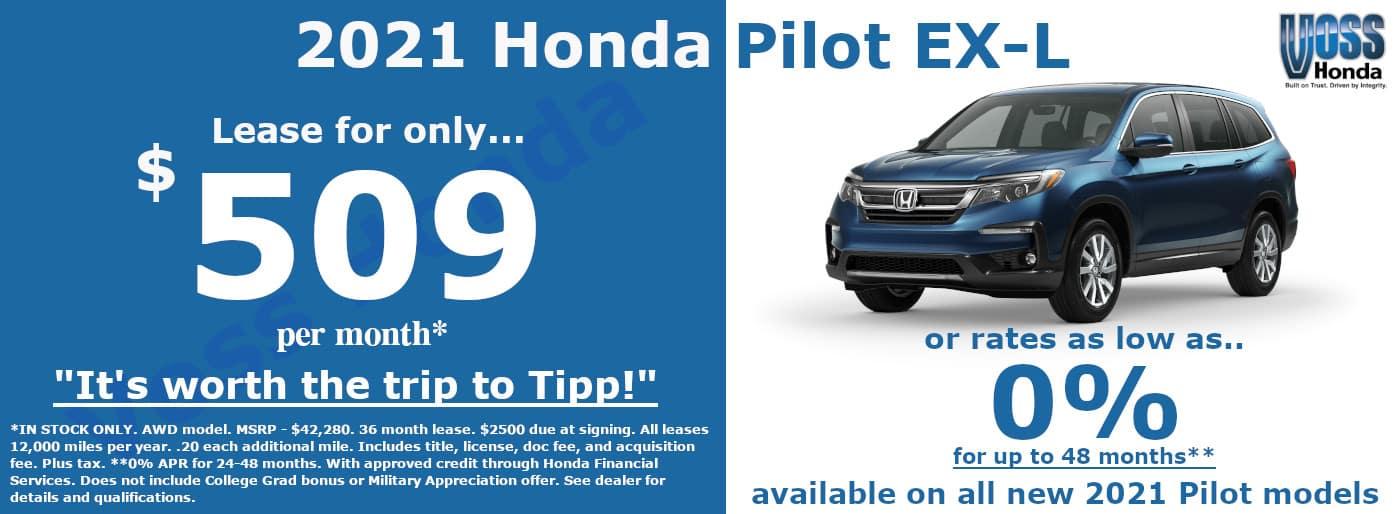 2021 Honda Pilot EX-L AWD Lease Special