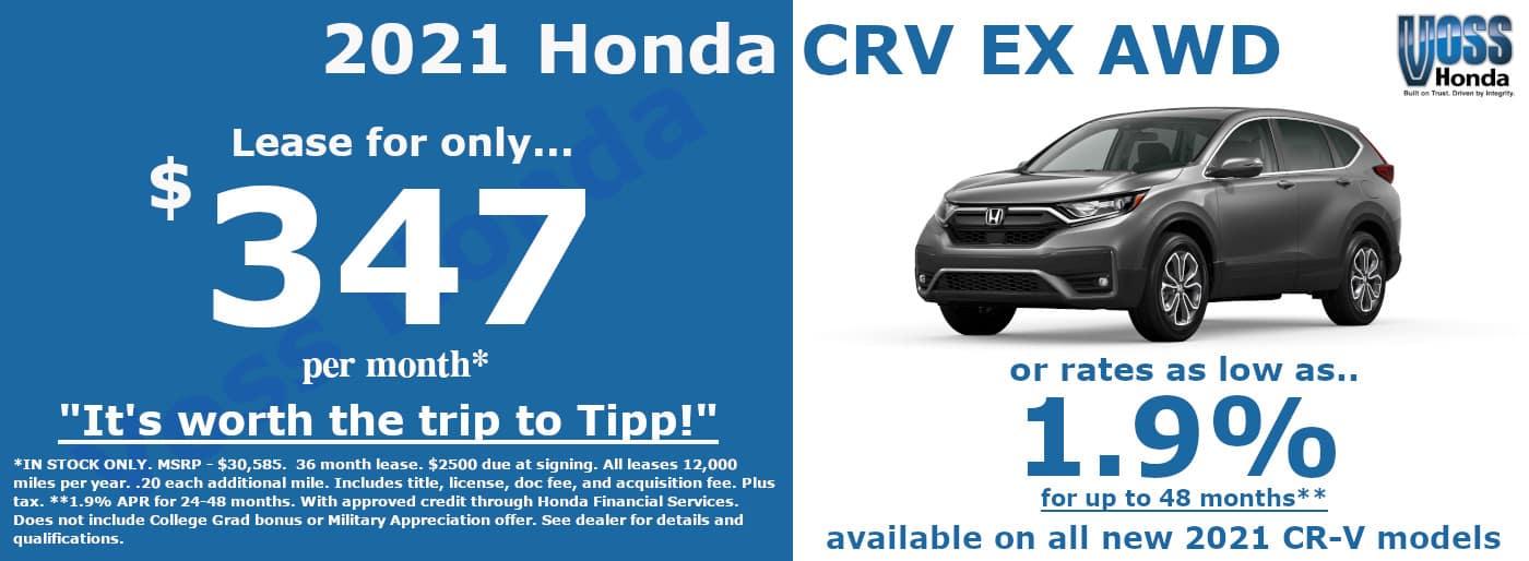 2021 Honda CRV EX Lease Special