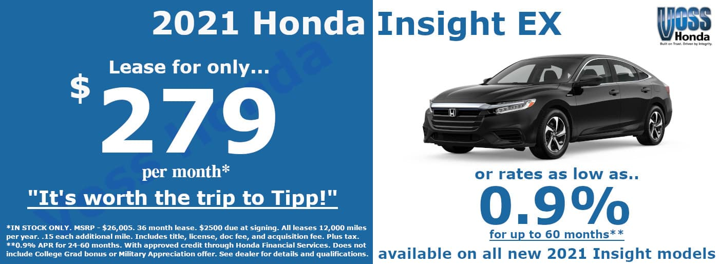2021 Honda Insight EX Lease Special