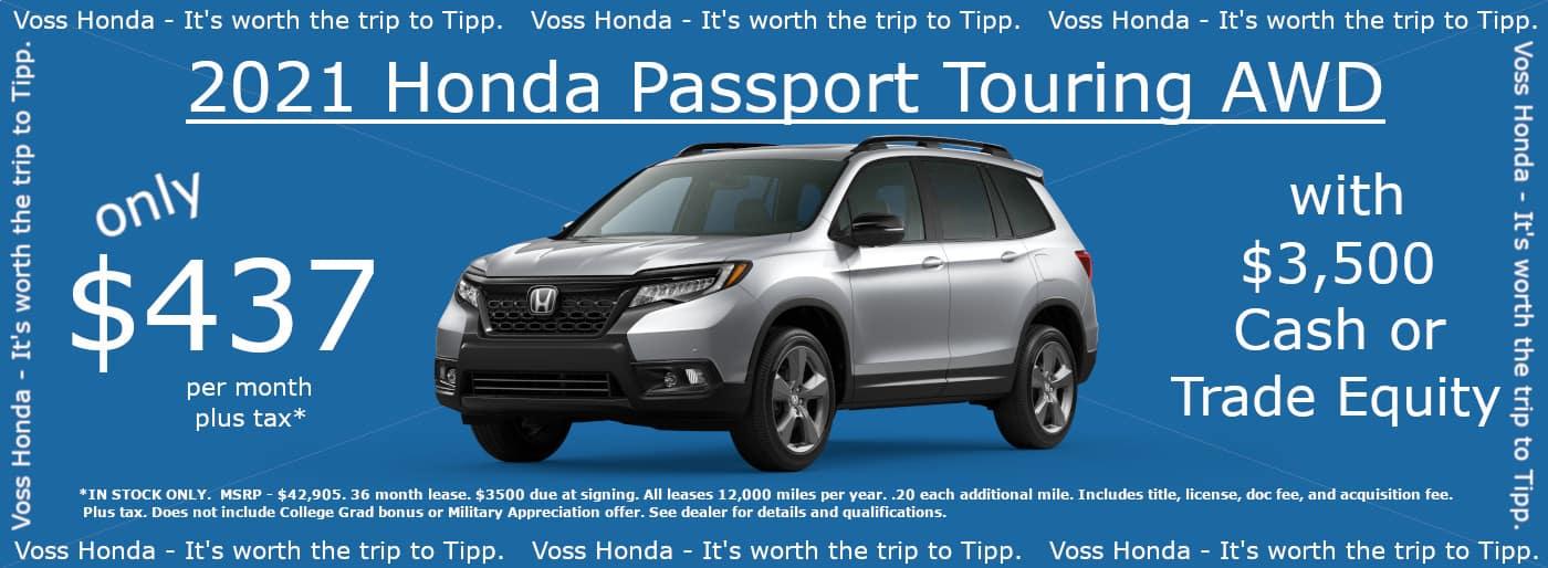 2021 Honda Passport Touring AWD Lease Special