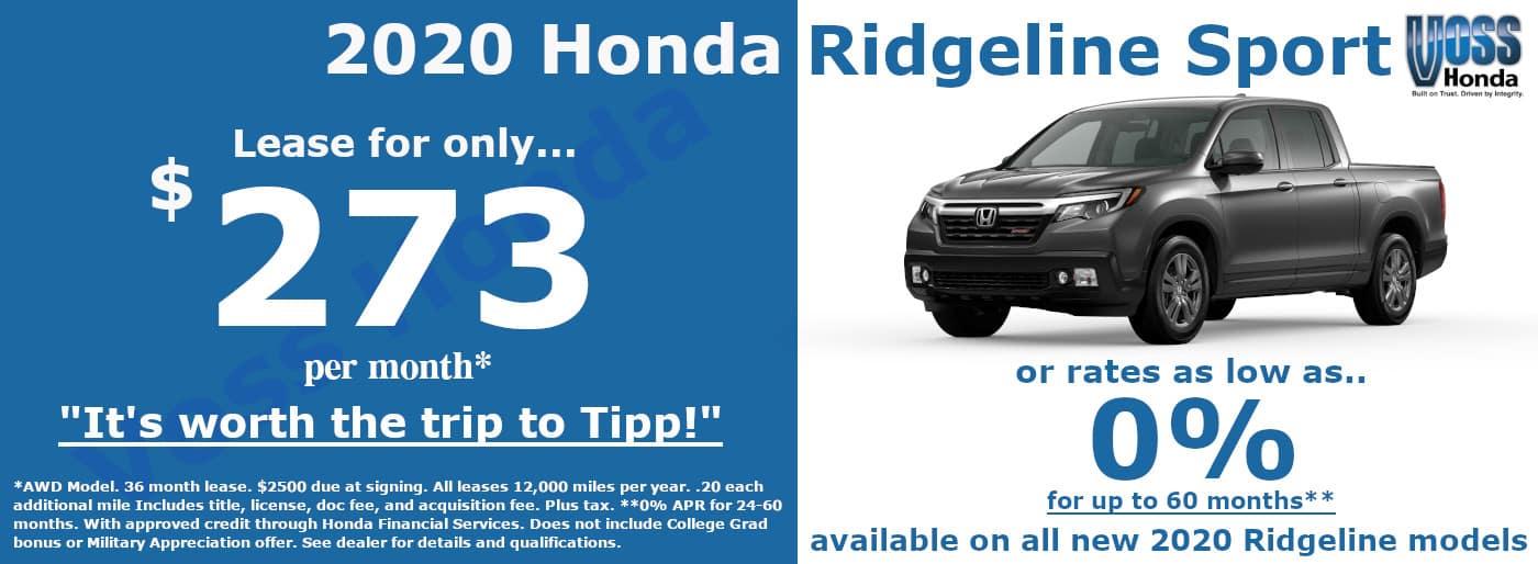 2020 Honda Ridgeline Sport Lease Special