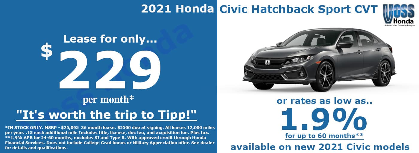 2021 Civic Hatchback Sport Lease Special