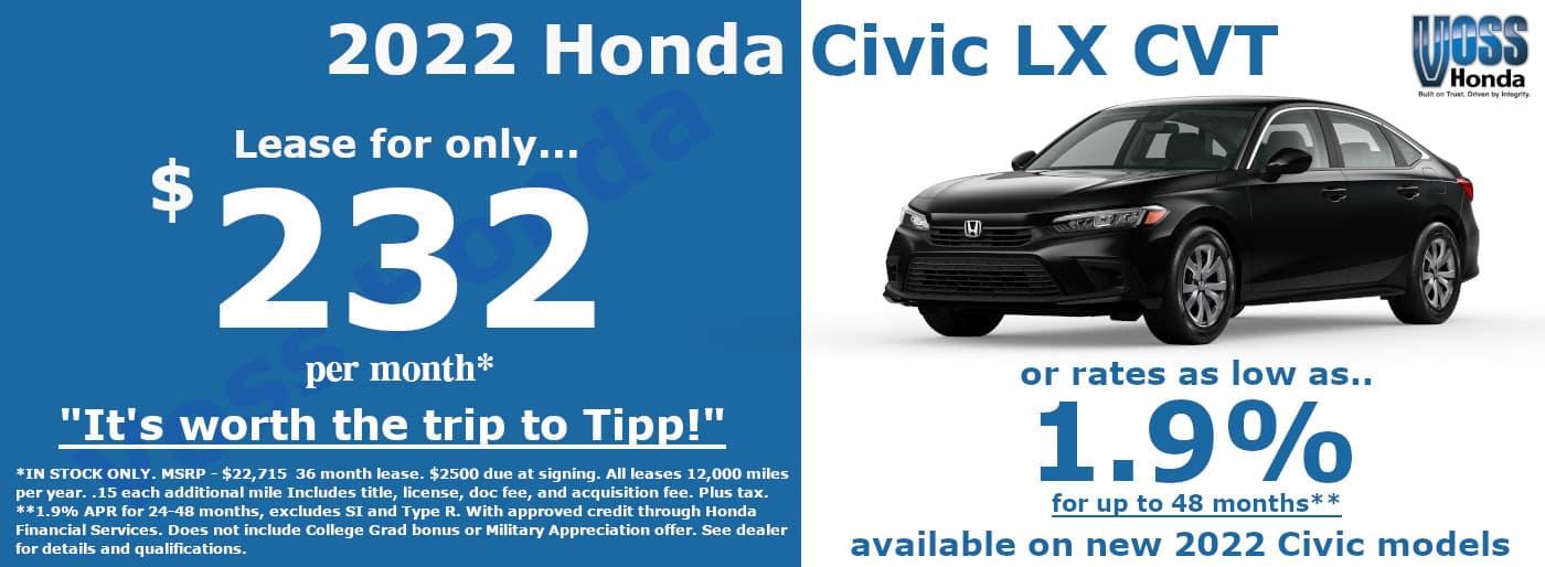 2022 Honda Civic LX Sedan Lease Special