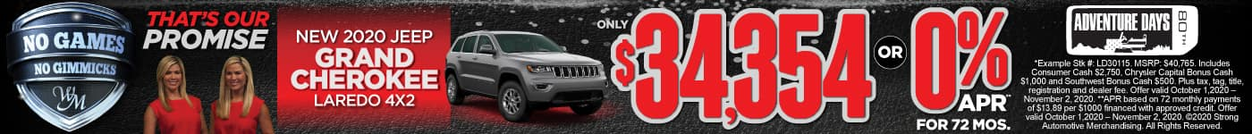New 2020 Jeep Grand Cherokee only $34,354 or 0% APR for 72 Mos.