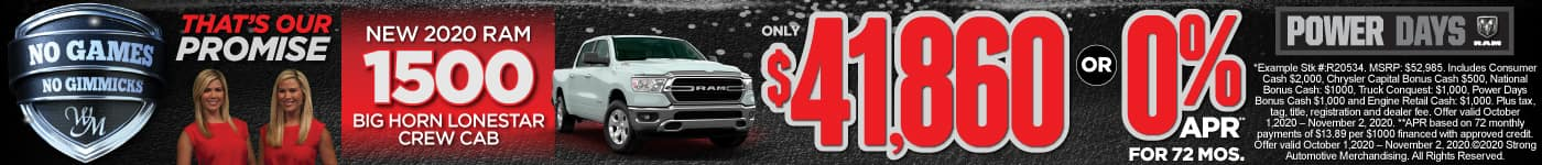 New 2020 RAM 1500 only $41,680 or 0% APR for 72 Mos.