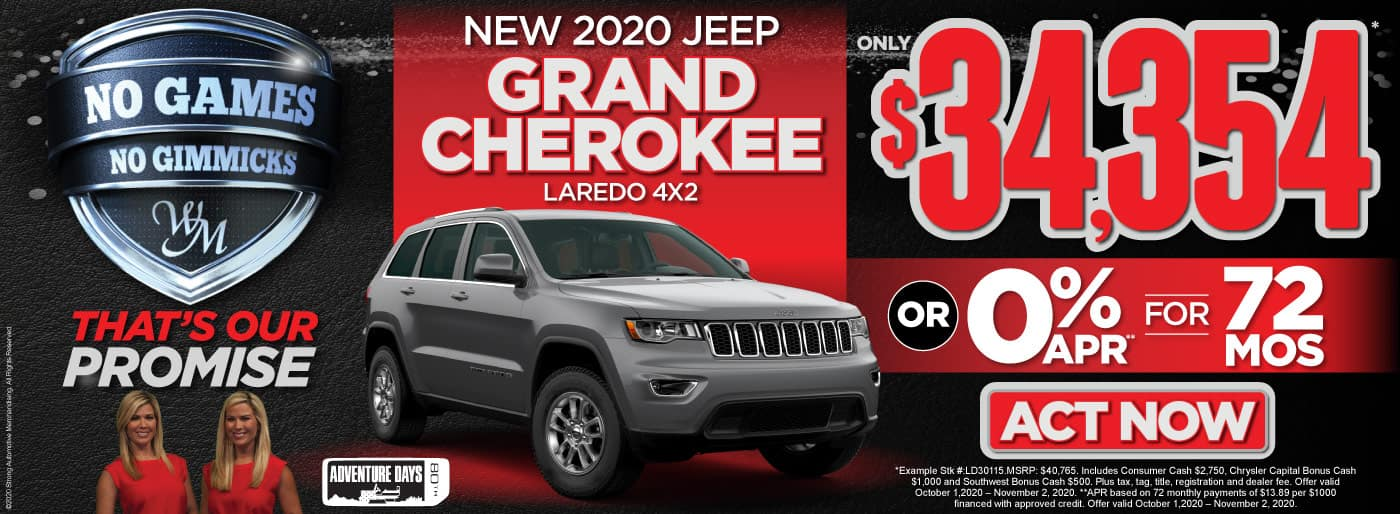 New 2020 Jeep Grand Cherokee only $34,354 or 0% APR - ACT NOW