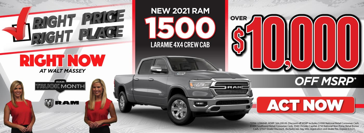 New 2021 Ram 1500 - over $10,000 off MSRP - Act Now