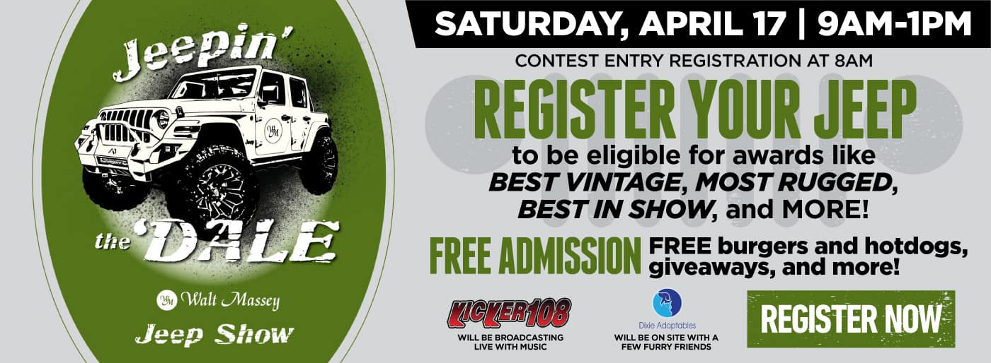 Saturday, April 17th 9am to 1pm | Register your Jeep to be eligible for awards | Click to Register
