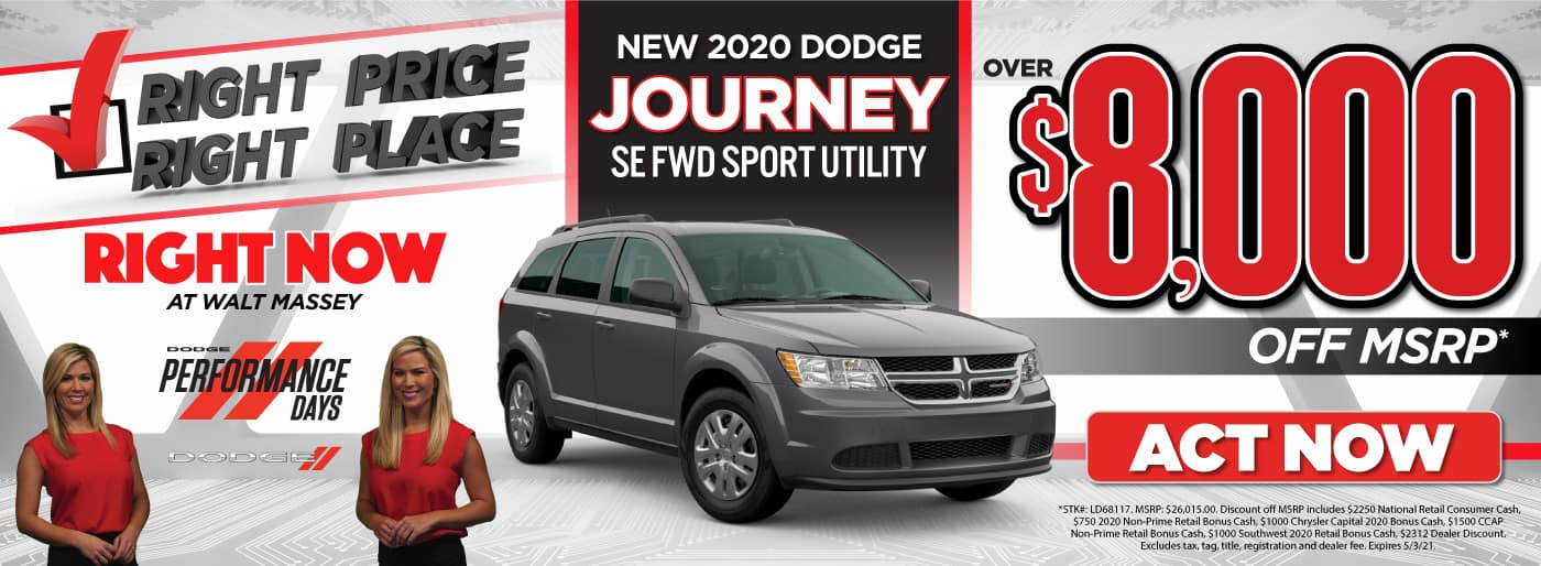 New 2020 Dodge Journey - over $8,000 off MSRP - Act Now