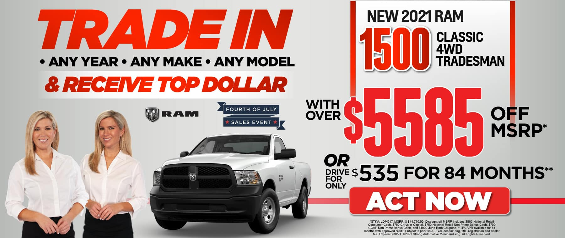 2021 Ram 1500: over $5585 off MSRP or $535 for 84 Months — ACT