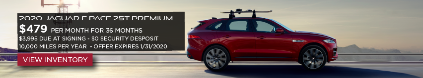2020 red Jaguar F-PACE 25t Premium on sunny road with accessory rack. LEASE FOR $479 PER MONTH FOR 36 MONTHS*  $3,995 CASH DUE AT SIGNING. View Inventory.