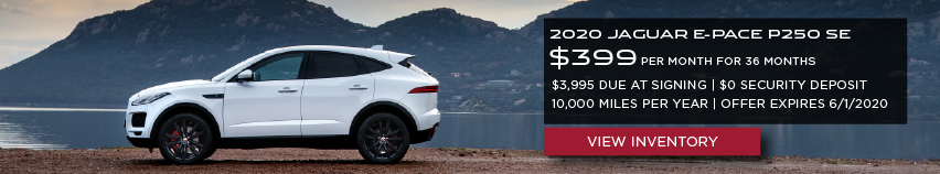 White 2020 JAGUAR E-PACE P250 SE on road near lake and mountains. $399 PER MONTH. 36 MONTH LEASE TERM. $3,995 CASH DUE AT SIGNING. $0 SECURITY DEPOSIT. 10,000 MILES PER YEAR. EXCLUDES RETAILER FEES, TAXES, TITLE AND REGISTRATION FEES, PROCESSING FEE AND ANY EMISSION TESTING CHARGE. OFFER ENDS 6/1/2020.